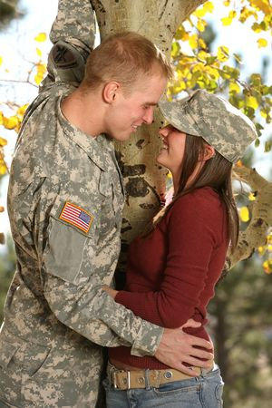 American Soldier and his girlfriend Stok Fotoğraf