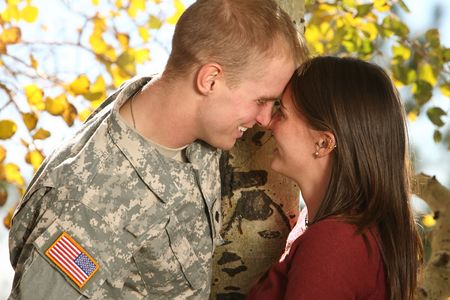 army soldier: American Soldier and his girlfriend Stock Photo