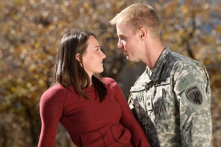 wives: American Soldier and his girlfriend Stock Photo