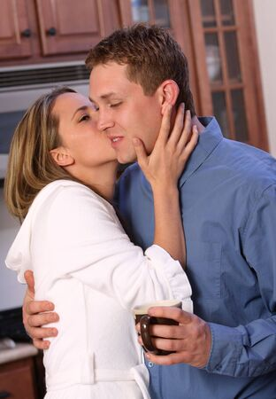 Young couple having morning coffee Stock Photo - 2837866