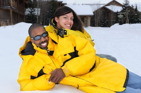 African American Family at Ski Resort photo