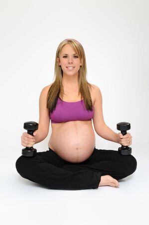 Pregnant girl exercising