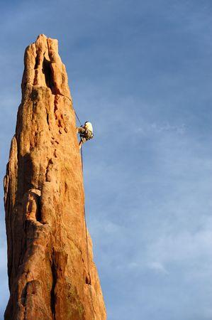 descending: Rock Climber Descending