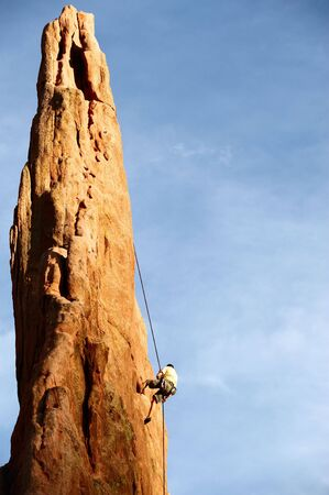 Rock Climber Descending  photo