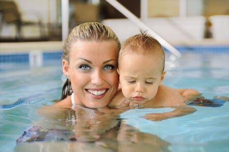 Mother and Child in Swimming Pool photo
