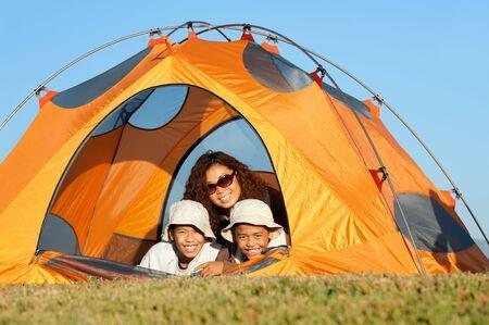 Happy Family Camping Stock Photo
