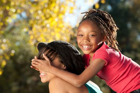 african mother: Playful Child