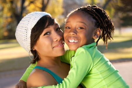american falls: African American mother and child  Stock Photo