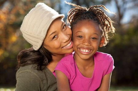 children at play: Happy African American mother and child Stock Photo