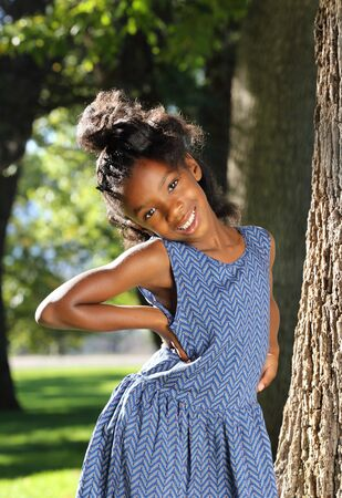 heaving: African American Child Heaving Fun in a Park