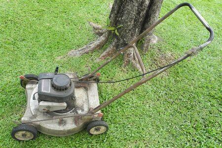 lawn mower on fresh cut grass in the garden                         photo