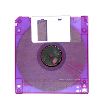 Computer floppy disk closeup on white photo