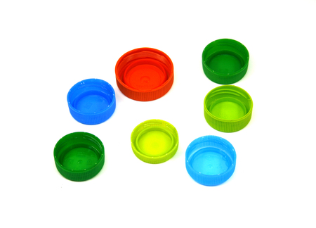 colorful plastic bottle caps isolated