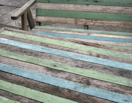 wooden garden chair and table photo