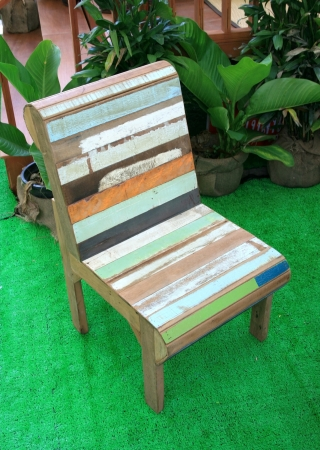 old wood colorful chair photo
