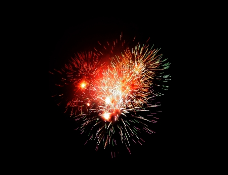 fireworks of various colors over night sky   photo