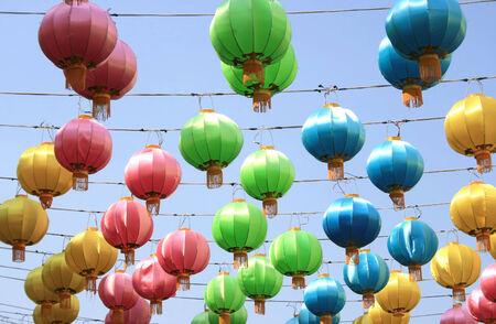 Colorful lantern lamp background photo