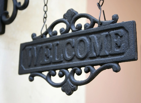 steel vintage welcome sign  photo