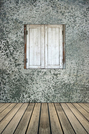 old wood window on concrete wall  photo