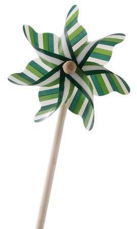 plastic fan or wind turbine toy or pinwheel isolated photo