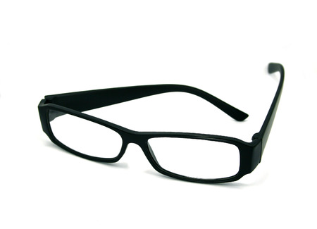 black glasses isolated on a white background photo