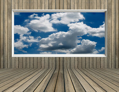 clound: blue sky and clound in picture frame old wood wall