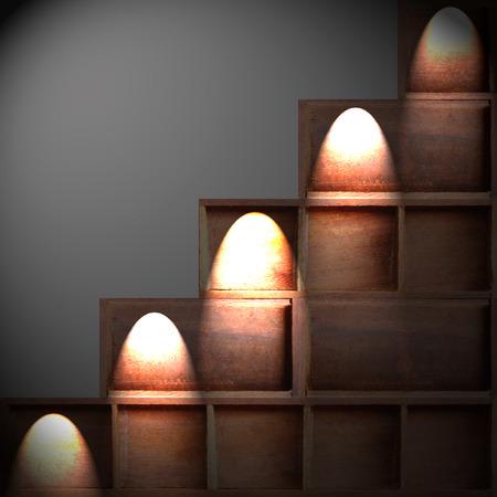 Empty brown wood cabinet shelf photo