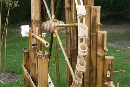 waterwheel: wheel bamboo turbine use water