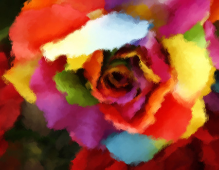Oil painting rainbow rose with colored petals photo