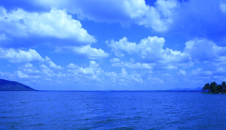 horizon over water: Summer landscape with sea and horizon over water