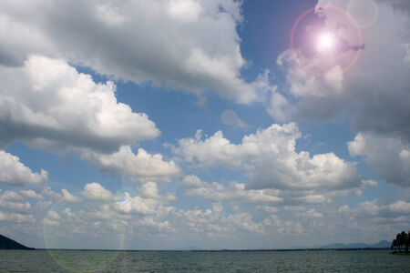 horizon over water: Summer landscape with sea and horizon over water with sunlight