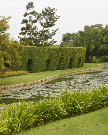 landscape garden: Outdoor landscape garden with pond Stock Photo