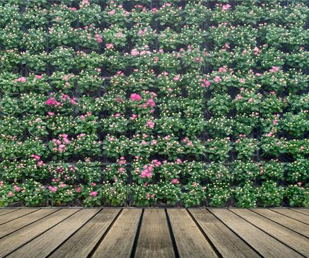 花の壁の垂直の庭