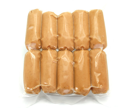 sausages pack. Isolated on white background Standard-Bild
