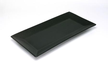 empty rectangular black plate isolated on white background Standard-Bild