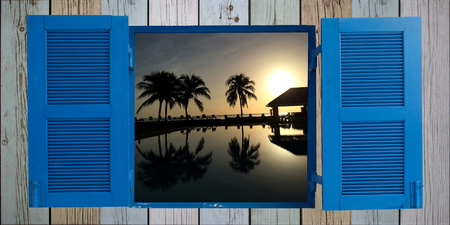 sunup: Coconut palms on sand beach in tropic on sunset
