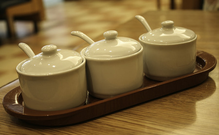 condiment: blank white cup of condiment ceramic set