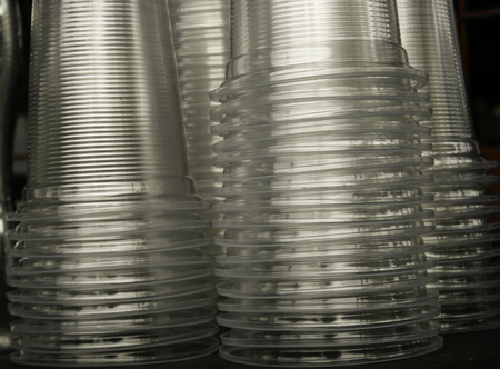 stack of clear plastic cup photo