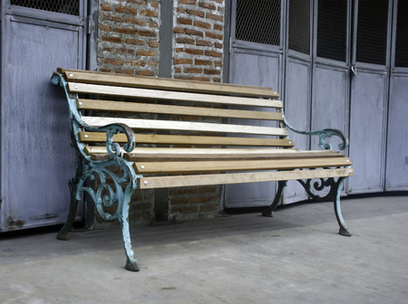 wood bench: Wood Bench Against Blank Wall
