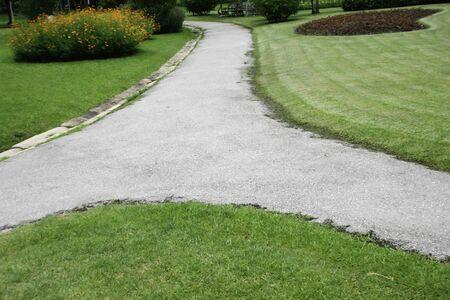 concrete walk way in garden photo