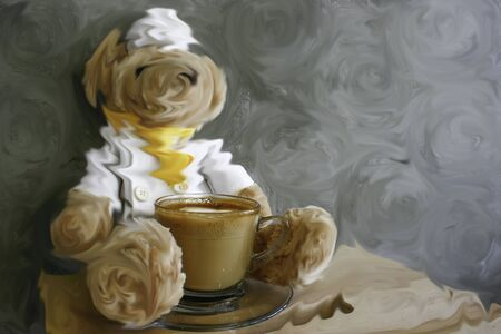 cappaccino: latte coffee on a wood table with smudge blurred bear and wall