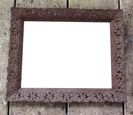 old picture: Old picture frame on vintage wood wall Stock Photo