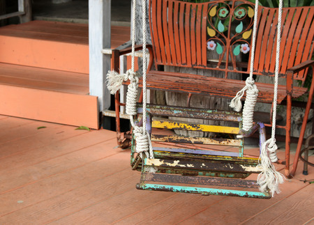 swing seat: rusty iron seat swing