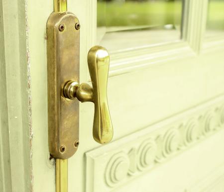 open trench: Brass Knob Door Vintage Old Retro Stock Photo