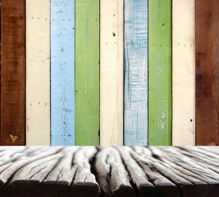 on wood floor: wood wall and floor Stock Photo