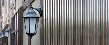 white Corrugated metal texture surface or galvanize steel background and lamp Standard-Bild