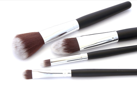 make up brush: make up brush powder blusher isolated on white background