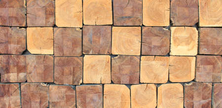 timber floor: Square Wood Logs Stack Background Stock Photo