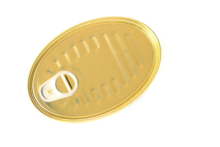 ring pull: Oblong can with ring pull. Isolated on a white.top view