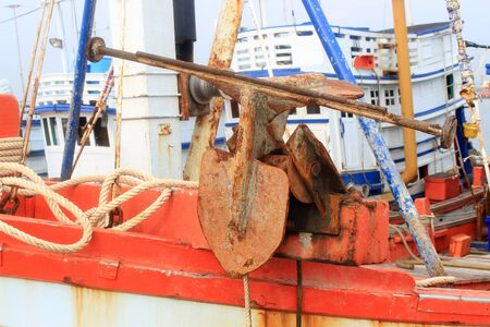 corrode: Rusty Old Anchor Stock Photo